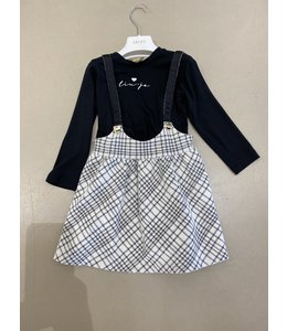 LIU JO Baby & Honey | 2-delig set jurk & longsleeve - Snow white & Black