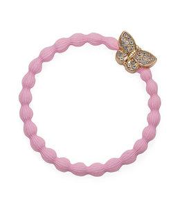 BY ELOISE LONDON | Haarelastiek met gouden vlinder - Soft Pink