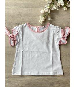 PATACHOU | T-shirtje met knoopjes - Wit & Roze