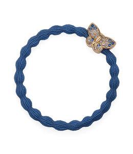 BY ELOISE LONDON | Haarelastiek met gouden vlinder - Dove Blue