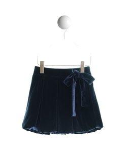 SPECIAL DAY | Rok in velour met strikdetail - Marineblauw