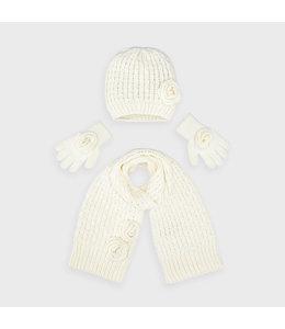 MAYORAL | 3-delige set Sjaal, muts & handschoenen - Ecru