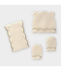 MAYORAL | 3-delige set Sjaal, mut & handschoenen - Ecru
