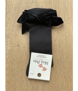 MEIA PATA | Kniekousje met velvet strik - Zwart