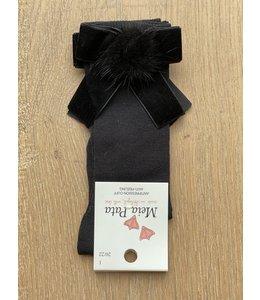 MEIA PATA | Kniekousje met velvet strik en fur pompom - Zwart