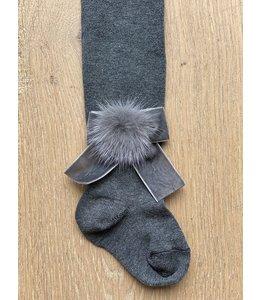 MEIA PATA | Kousenbroekje met velvet strik en fur pompom - Donkergrijs
