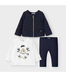 MAYORAL | 3-delig set longsleeve, vestje & legging - Blauw