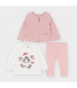 MAYORAL | 3-delig set longsleeve, vestje & legging - Roze