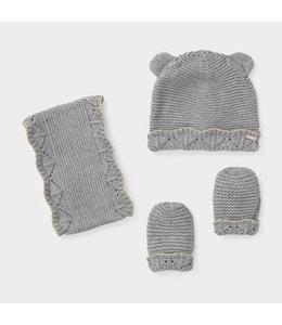MAYORAL | 3-delige set Sjaal, mut & handschoenen - Grijs
