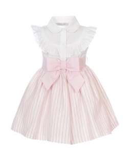 BALLOON CHIC | Gestreepte jurk met strik in taille - Wit & Roze