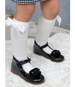CLARYS   Schoentje met strikje & ruffles - Zwart
