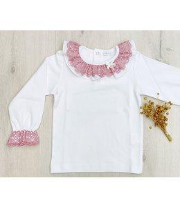 LAIVICAR | Longsleeve  met kanten kraag - Wit & Roze