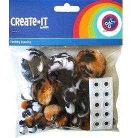 Create-It Haza Pompoms Animal mix + oogjes Create-It 60 stuks
