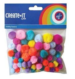 Create-It Haza Create-It 75 stuks  Pompoms Glitter Neon mix