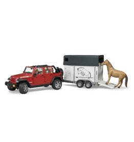 Bruder Bruder 02926 Jeep Wrangler Unlimited Rubicon met Paardentrailer en 1 Paard (1:16)