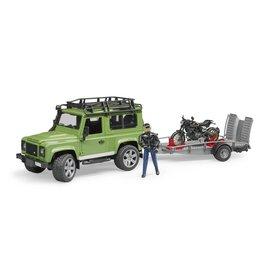 Bruder Bruder 02598 Land Rover Defender Station Wagon met Aanhanger, Ducati Motor en Motorrijder (1:16)