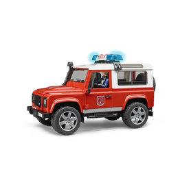 Bruder Bruder 02596 Land Rover Defender Brandweerauto met Brandweerman (1:16) + Licht- en Geluidsmodule