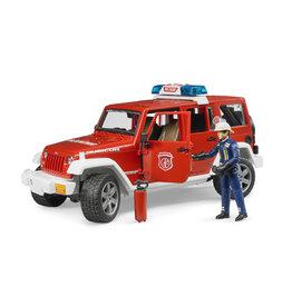 Bruder Bruder 02528 Jeep Wrangler Unlimited Rubicon Brandweerauto met Brandweerman (1:16) + Licht- en Geluidsmodule