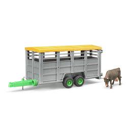 Bruder Bruder 02227 Veetransport Aanhangwagen met 1 Koe (1:16)