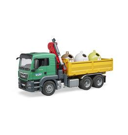 Bruder Bruder 03753 MAN TGS  Kraanwagen met Glascontainers (1:16)