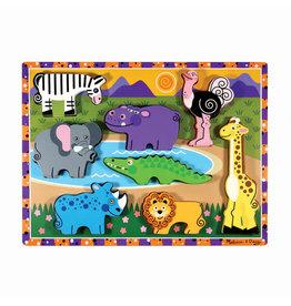 Melissa & Doug Melissa&Doug 13722 Dikke Houten Puzzel Safari (8 stuks)Melissa&Doug