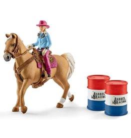 Schleich Schleich Farm World 41417 Barrel Racing met Cowgirl