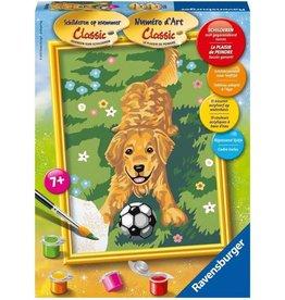 Ravensburger Schilderen op nummer Hond Met Voetbal