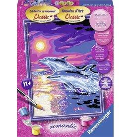 Ravensburger Schilderen op Nummer 282616 Dolfijnen in Zonsondergang