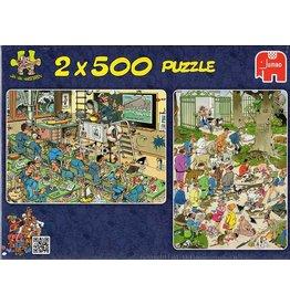 Jumbo Jumbo puzzel Jan van Haasteren  81302 Zeevaartschool + pak die kat! 2x500 stukjes