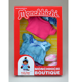 Monchhichi Monchhichi Boutique Blauwe Tuniek met Roze Shirt