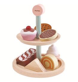 Plan Toys Plan Toys Bakery Stand Set - Houten Etagère met Patisserie