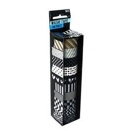 Sense Washi Tape zwart/wit/goud 10st à 5meter