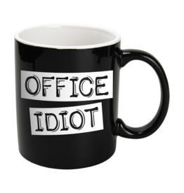 Paper Dreams Black & White Mok - Office Idiot , Zwart