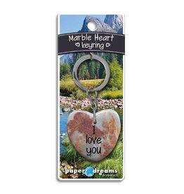 Paper Dreams Sleutelhanger Hart Marmer - I Love You