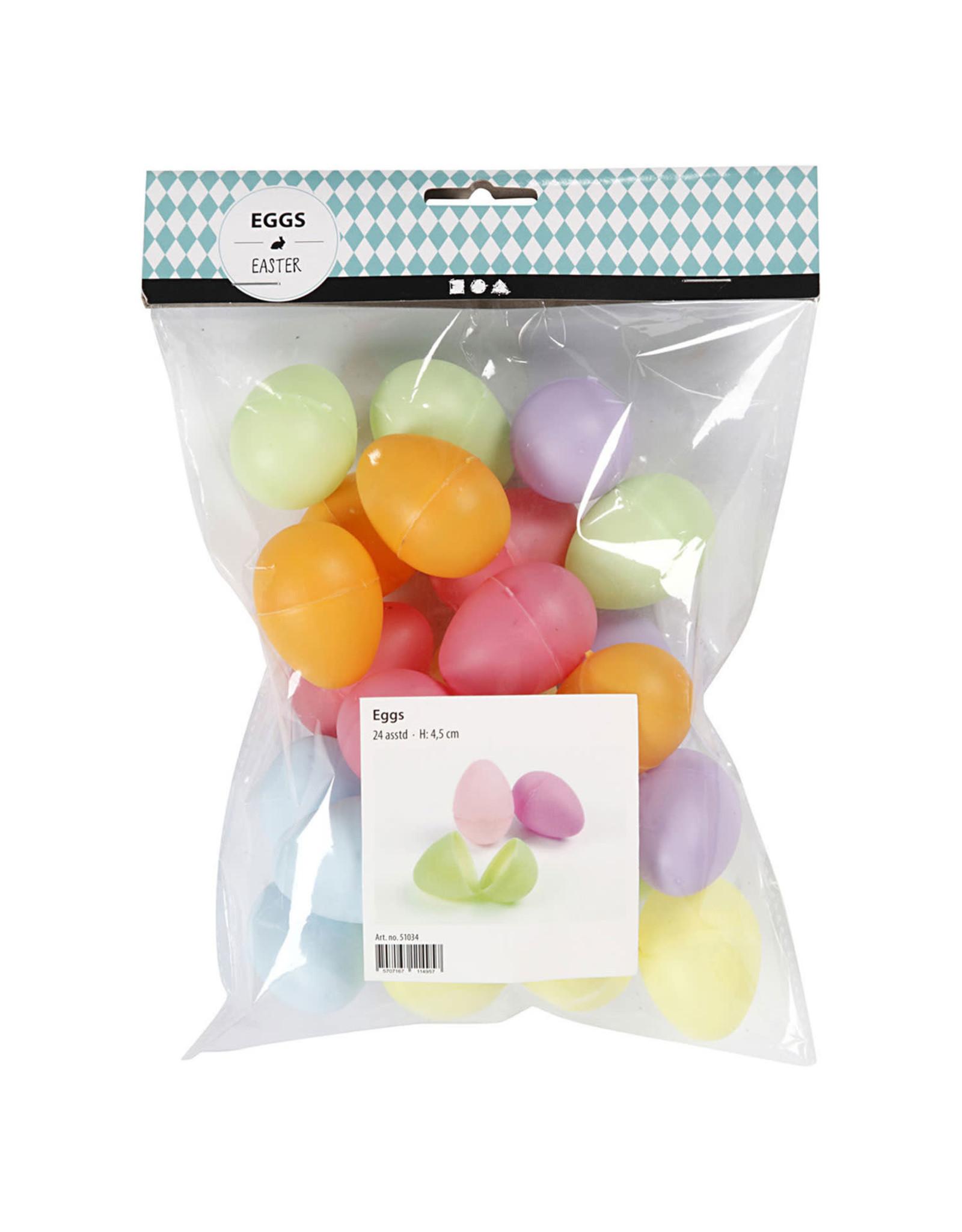 Plastic  Eieren gekleurd 4.5cm 24st assorti kleuren