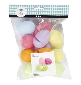 Plastic Eieren Gekleurd 6cm 12st  assorti kleur