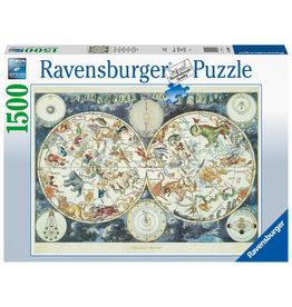 Ravensburger Ravensburger puzzel 160037 Wereldkaart met Fantasierijke Dieren  1500 stukjes