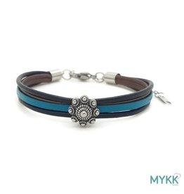 Mykk Zeeuwse Knop Armband  Leer Zwart, Bruin en Turquoise