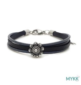 Mykk Zeeuwse Knop Armband Leer,  Blauw/Zwart