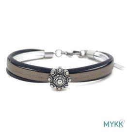 Mykk Zeeuwse Knop Armband  Leer Zwart, Zilver en Platinum