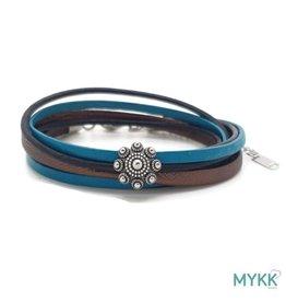 Mykk Zeeuwse Knop Armband Dubbel Zwart, Bruin en Turquoise Leer