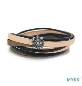 Mykk Zeeuwse Knop Armband  Dubbel Rosé Goud/Zwart Leer