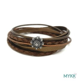 Mykk Zeeuwse Knop Armband Dubbel - Bruin/Koper
