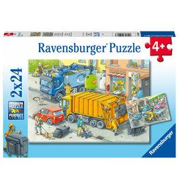 Ravensburger Ravensburger Puzzel 050963 Vuilniswagen en Sleepwagen (2x24 Stukjes)