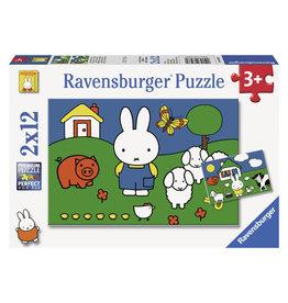 Ravensburger Ravensburger Puzzel 075669 Nijntje bij de Dieren  (2x12 Stukjes)