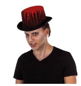 Hoge hoed zwart blood splash