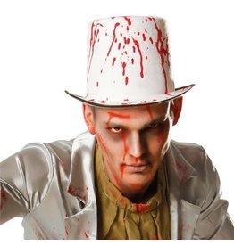 Hoge hoed wit blood spatters