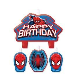 Kaarsjes Spiderman (4 stuks)