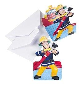 Uitnodigingskaarten+envelop Brandweerman