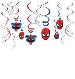 Hang decoratie Spiderman (12 stuks)